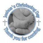 Personalised Photo Boy Christening Sticker